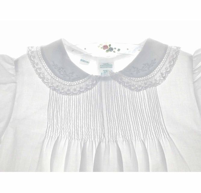 NEW Feltman Brothers Long Christening Gown with Lace Edged Collar and Lace Insertion