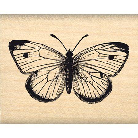 Tampon bois - Envolée de Douceur - Joli Papillon  - 4,3 x 2,5 cm