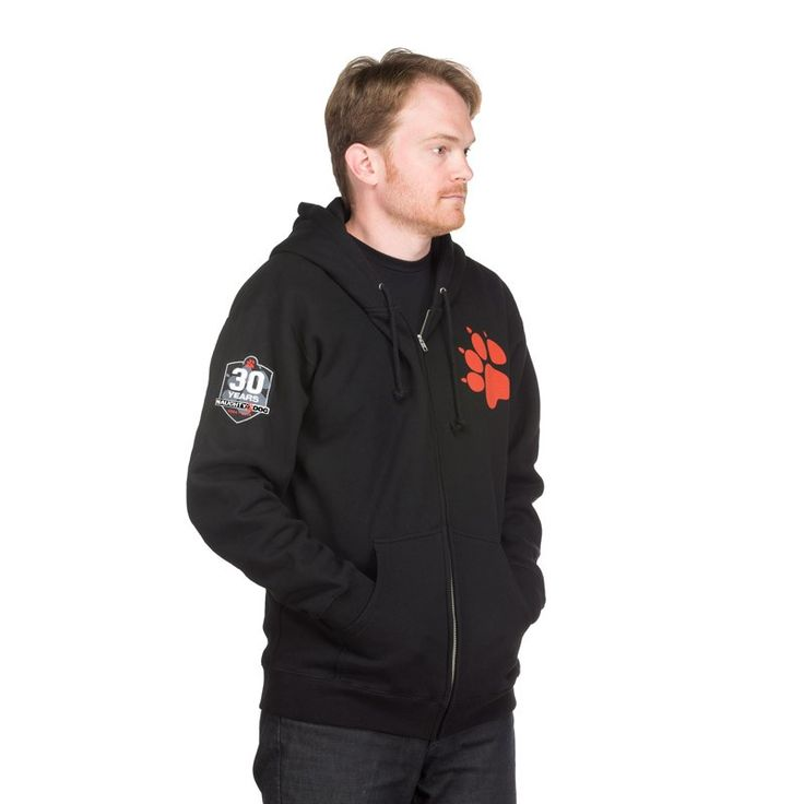 enclave officer hoodie. 10 oz. cotton/polyester blended fleece, full-zip hoodie in black front screenprint and embroidered patch on sleeve fleece-lined hood heavy gauge enclave officer