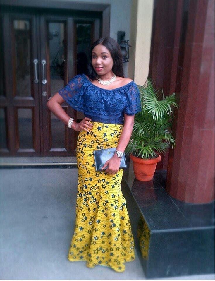 Blue Lace Top With Yellow Ankara Print Fabric Long Skirt