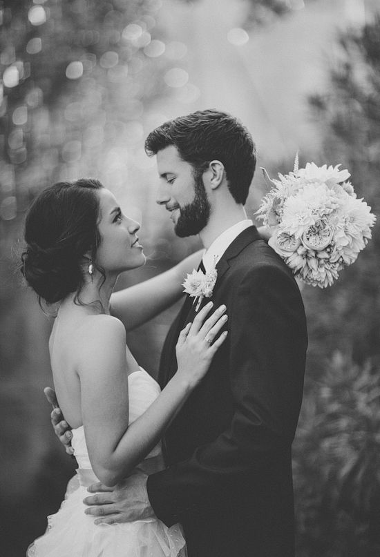 bride and groom, black and white photo