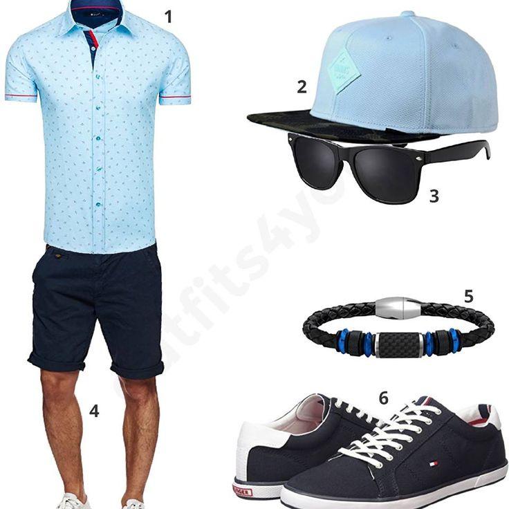 Sommer-Style mit hellblauem Bolf Shirt, Djinns Cap, Sonnenbrille, dunkelblauer Indicode Shorts, Coolman Armband und Tommy Hilfiger Schuhen.