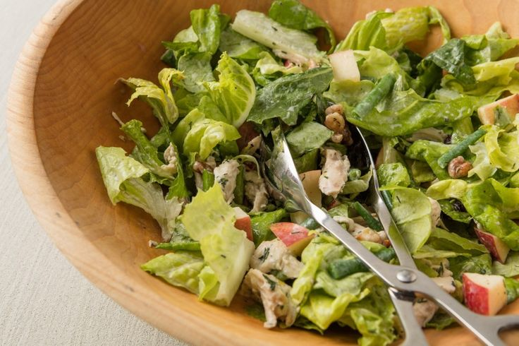 Green Salad With Chicken, Apple and Maple Walnuts in Buttermilk Dressing