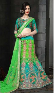 Green Color Silk Embroidery Circular Designer Lehenga | FH586786363