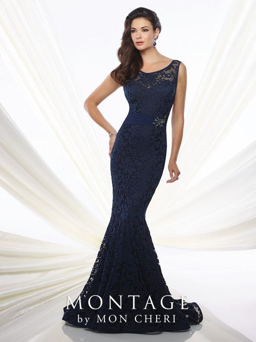 Montage 115960 Patterned Lace Mermaid Gown