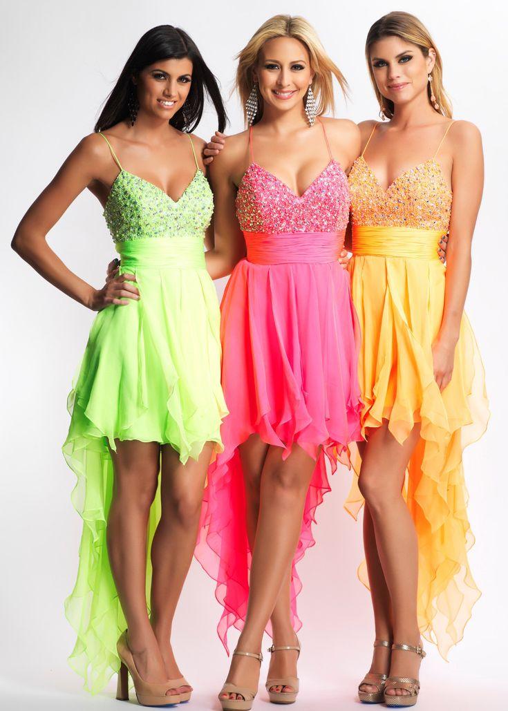 Pretty, pretty neon colors! | Dave & Johnny 8662 - Neon Lime, Neon Fuchsia, Neon Orange Ruffle Chiffon Hi- Lo Prom Dresses