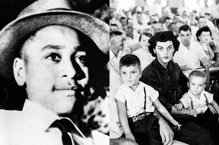 How Author Timothy Tyson Found the Woman at the Center of the Emmett Till Case - Left, a young Emmett Till; Right, Carolyn Bryant with her two sons Roy Jr. and Lamar at Till's murder trial at the Tallahatchie County courthouse in Mississippi, September 1955. Left, from Bettmann, right, by Ed Clark/The LIFE Picture Collection, both from Getty Images