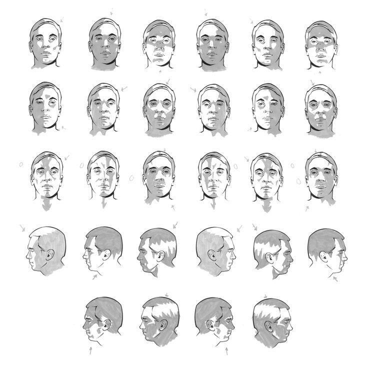 """Face (Male) Shading - Basic Planes"" Reference Sheet -  Art by Durwin Talon 