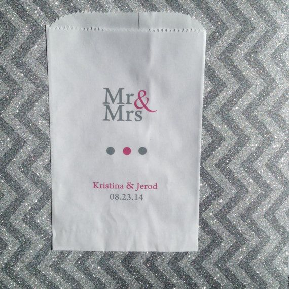 MR and MRS Wedding Favor Bags Candy Buffet Bar by girlie2shoes, $32.00 for 50 bags // super cute but pricey for just the bags... it would be almost 200 bucks for the 300 bags we'll need, that's not including any candy or the ribbon/stickers we'd need to seal the bags!