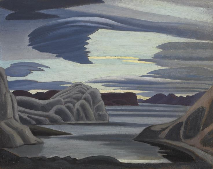 "LAWREN  HARRIS:  ""Lake Harbour, South Shore, Baffin Island"" (Canadian, 1885 - 1970) 1930 Oil on board, National Gallery of Canada, Ottawa. Purchased 1945."