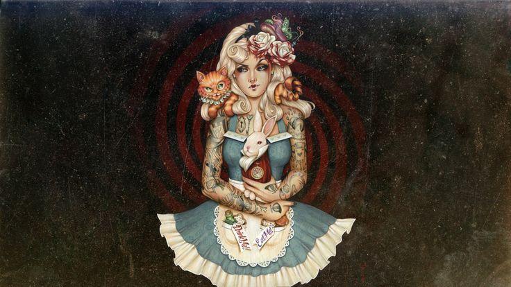 General 1920x1080 artwork Alice in Wonderland tattoo