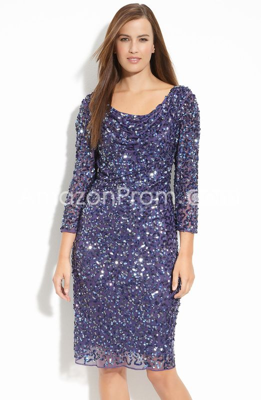 Gorgeous Draped Knee-length Sequins 3/4-Length Sleeves Mother Of The Bride