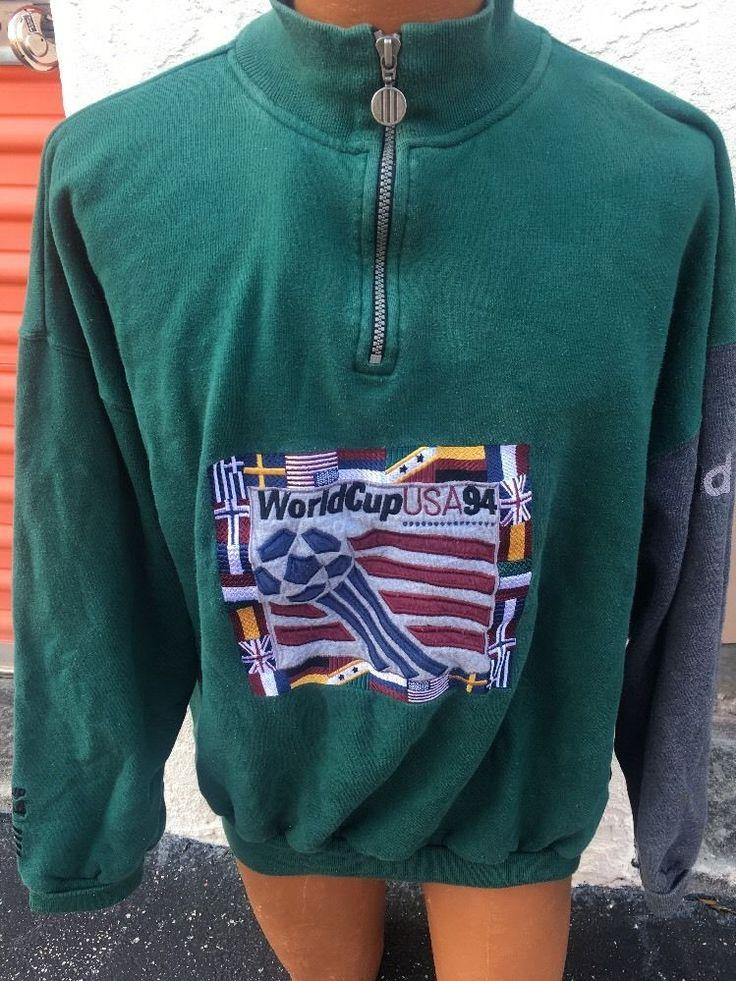 World Cup Soccer 1994 Mens Half Zip Sweater XL Vintage Adidas  | eBay