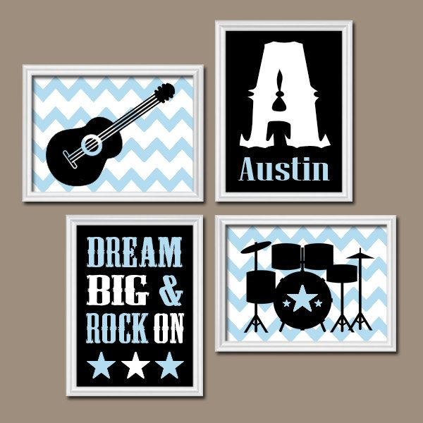GUITAR Wall Art, Music Theme, Baby BOY Nursery Decor, Big Boy Bedroom, CANVAS or Prints Music Art, Rock N Roll Rock and Roll Set of 4 Drums