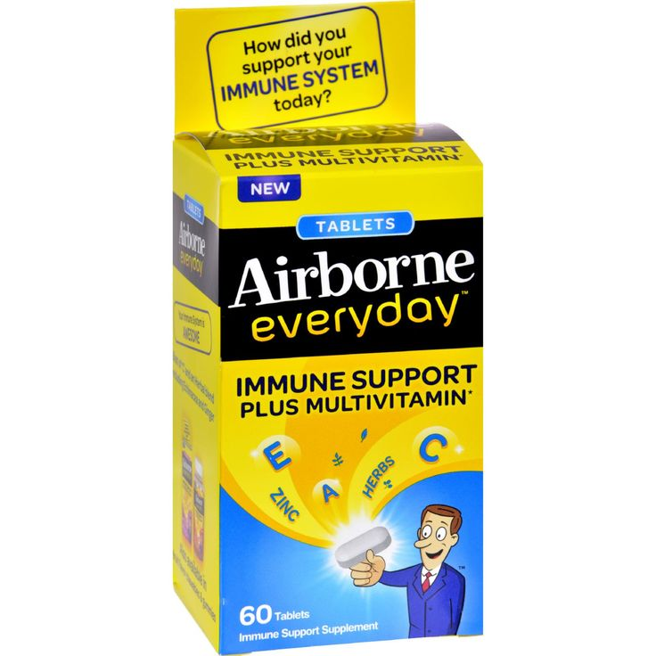 Airborne Everyday Multivitamin Tablets - 60 Tablets - Vitamin C and an herbal blend support immune health Essential multivitamins and minerals support everyday wellness Sugar-free and gluten-free 60 tablets per package Airborne Everyday Immune Support Plus Multivitamin tablet helps support your immune system and overall health every day. This convenient supplement is designed to provide immune support plus a multivitamin in a single easy-to-swallow tablet. Everyday Support for Your Immune…