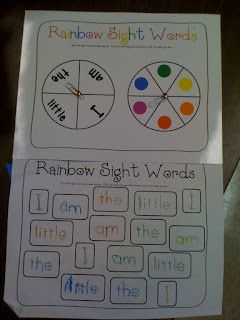* Practice writing sight words by spinning to get a word and a color, then writing in that color.    I have also seen Rainbow Spelling in which the spelling list is given in big letters and the students' homework is to trace the words over and over in different colors so that it becomes a rainbow.