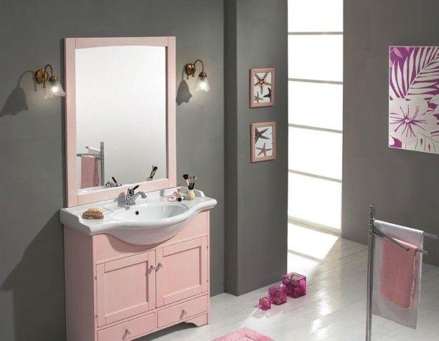 Bagno con arredi rosa e pareti grigie  MyHome  Pinterest