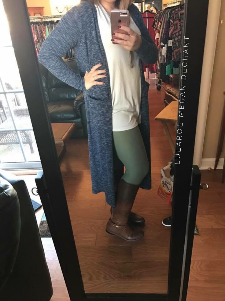 Loving these LuLaRoe layers! Gorgeous solid leggings, white Irma tunic, and a blue ribbed Sarah make for the perfect layered look. Join my VIP Group for more style tips!