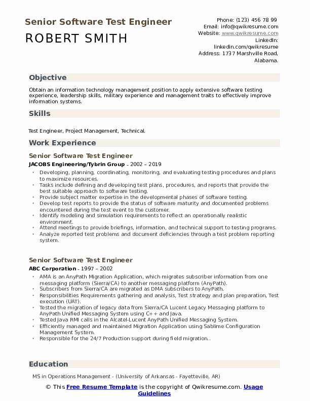Pin Di Best Software Tester Resume Sample