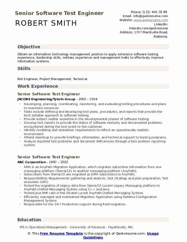 Cv Template Qa Engineer Resume Format Good Resume Examples Resume Resume Format