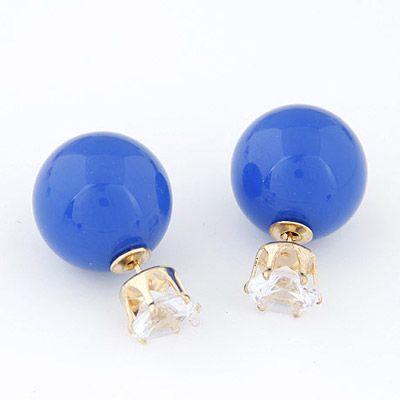 orecchini perla blu e punto luce