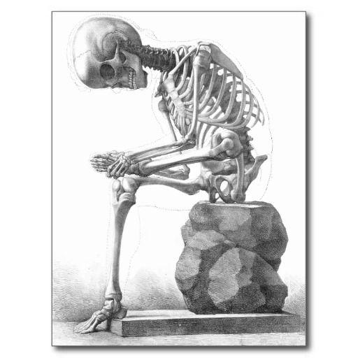 Sitting vintage skeleton thinking postcard