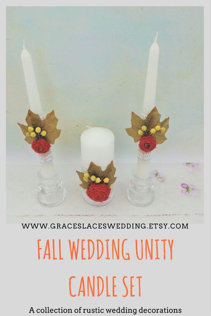 Fall wedding unity candle set #fallwedding #autumnwedding #unitycandleset #unityceremony #weddingunitycandleset