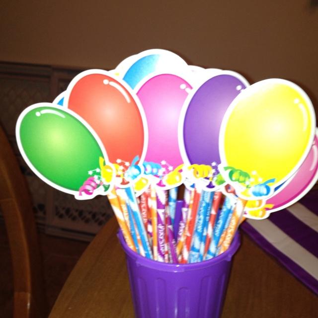 Pixie Stick Balloons For Classroom Birthday Treats