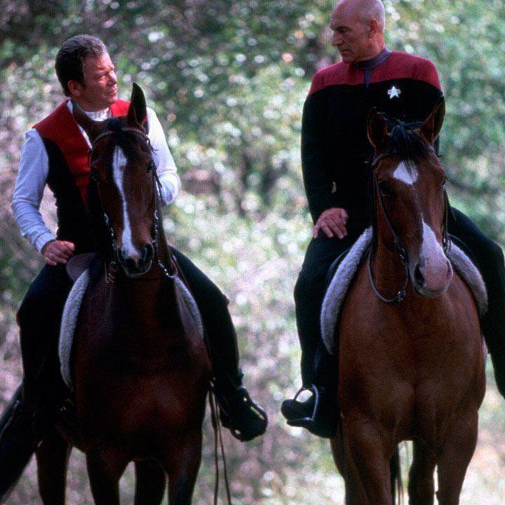 "William Shatner y Patrick Stewart en ""Star Trek VII. La Próxima Generación"" (Star Trek Generations), 1994"