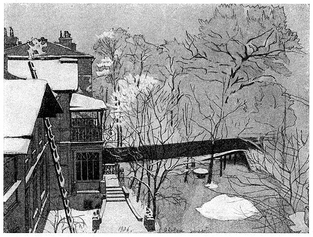 А. Остроумова-Лебедева, 'Садик зимой' (гуашь, 1906)