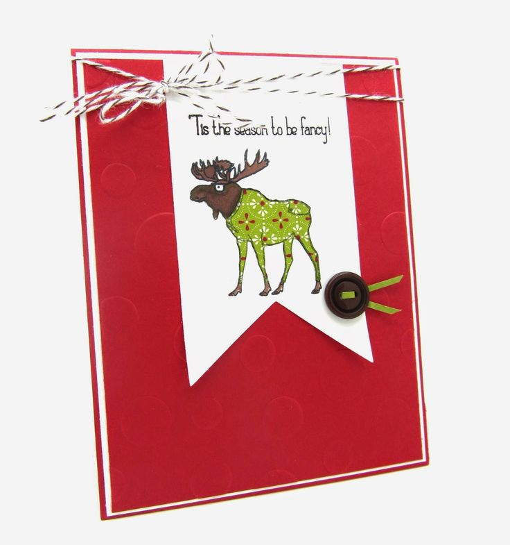 "I used the adorable stamp set from Stampin' Up! called ""Vision of Santa"" #christmas, #reindeers, #paperpiecing, #holidaycard, #christmascard, #banner"