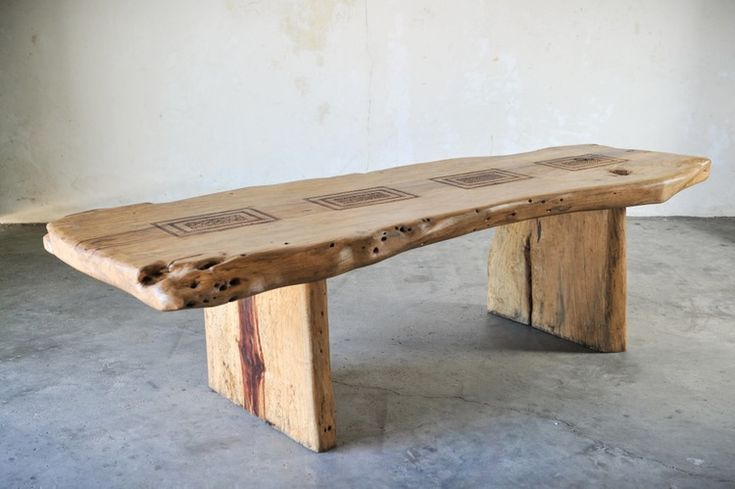 Slab dining or conference table, Tamarind wood. Teak root chair. Indonesia, Bali. Стол из массива дерева тамаринд. Индрнезия, Бали