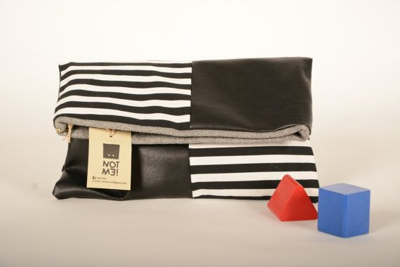 Vinyl and striped clutch bag by Notmeart on Etsy