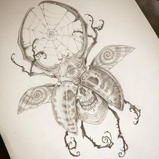 Instagram photo by ivanusmaximus - Beetle! #art #drawing #pencil #bug #tattoo #skull #eye