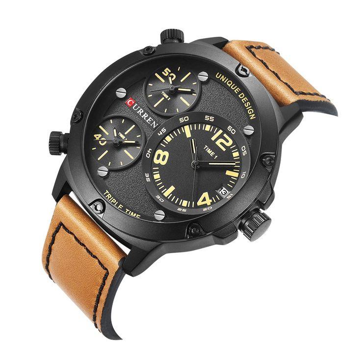 CURREN Cool Three Time Zone Quartz Men Watch Water-Proof Sports Sales Online #1 - Tomtop.com  #women #men #fashion #jewelry #watches