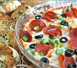 Hot Pizza Dip with Toasted Garlic Baguettes Recipe Video by divascancook   ifood.tv