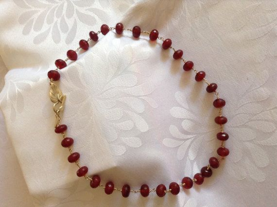 Gorgeous faceted red jade wire wrapped for security by JoyasDuende