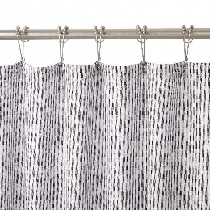 Cotton Shower Curtain In White Black Stripe In 48 X 72