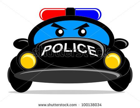 illustration of cartoon police car character.