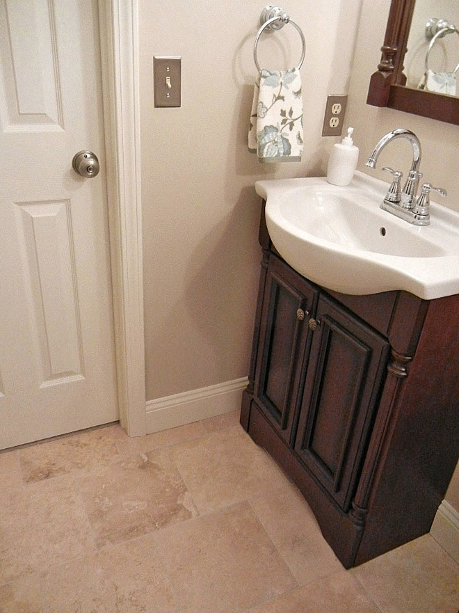 Guest Bathroom Vanity Travertine Tile New Bathroom