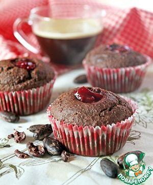 Полезные шоколадные маффины с вишневым конфитюром