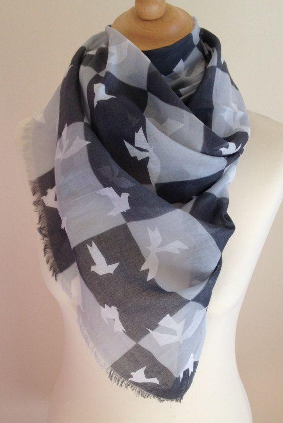 Monochrome scarf  grey scarf  origami bird scarf  white