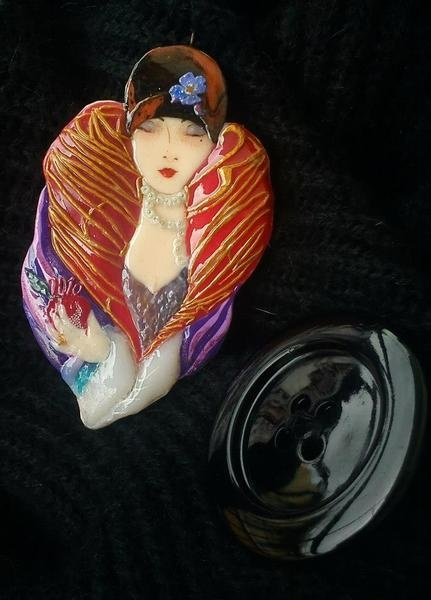 Hand sculptured polymeric clay pendant. Hand painted face. Custom made / one piece, in art deco style.Size: height 9cm, width approximately 5cm. A...