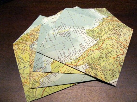 handmade stationary - vintage MAP envelopes with flat cards, $7.95 / 4
