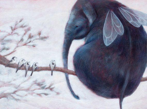 Elephant nursery decor FLYING ELEPHANT. Children room decor