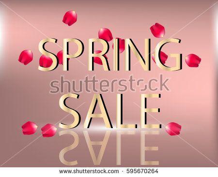 Spring Sale pink sparkling background with rose petals. Vector Illustration. Template for Banner, Poster, Brochure, Voucher discount.