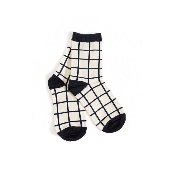 Check Socks ($8) ❤ liked on Polyvore featuring intimates, hosiery, socks, socks and tights, medias, checkered socks, black and white checkered socks and black and white socks