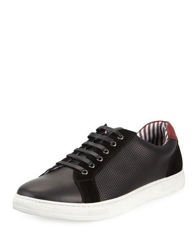 Racer Perforated Leather Sneaker, Black