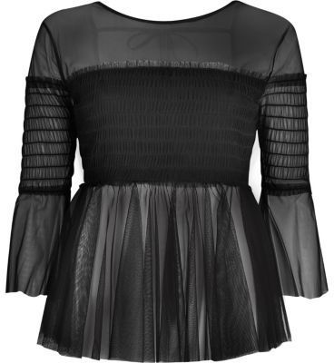 River Island Womens Black mesh pleated smock top
