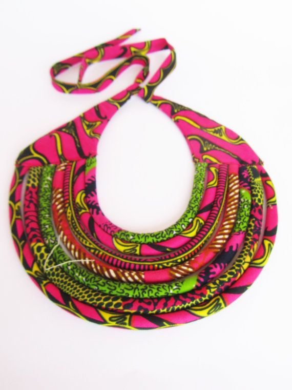 Maasai Multi-strand Necklace African hot pink bib by nad205